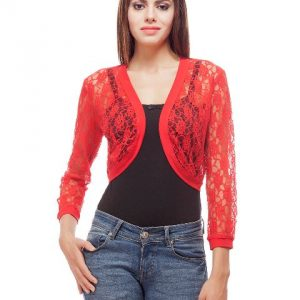 Peptrends Short Red Net Shrug-0