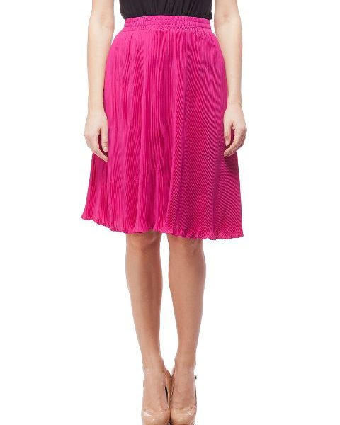 Peptrends Magenta Pleated Short Skirt-0