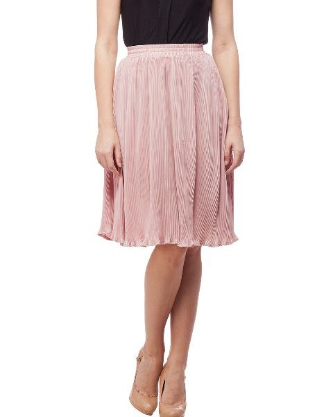 Peptrends Pink Pleated Short Skirt-0