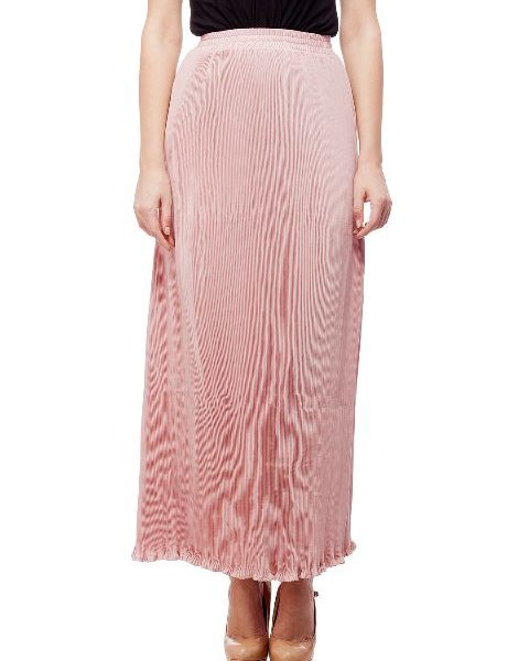 Peptrends Pink Pleated Long Skirt-0