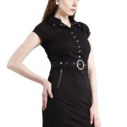 BLACK DRESS WITH RIVETS AND ZIPPERS-4131