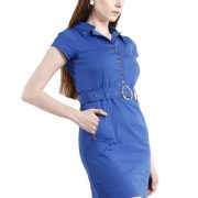 BLUE DRESS WITH RIVETS AND ZIPPERS-4123