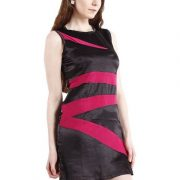 BLACK DRESS WITH MAGENTA STRIPES-4059