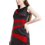 BLACK DRESS WITH RED STRIPES-4051