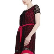 A LINE BLACK AND MAGENTA LACE DRESS-3924