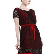 A LINE BLACK AND RED LACE DRESS-3916