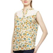 CREAM COLORED AND ORANGE PRINTED TOP-3811