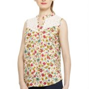 CREAM COLORED AND PINK PRINTED TOP-3803