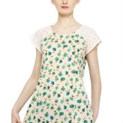 OFFWHITE AND GREEN FLORAL PRINT TOP-3779
