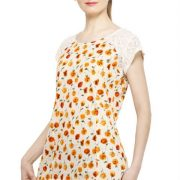 OFFWHITE AND ORANGE FLORAL PRINT TOP-3770