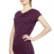 MAGENTA AND BLACK STRIPED TOP-3745