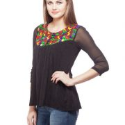 Peptrends Black Embroidered Net top-3409