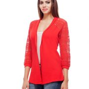 Peptrends Long Red Net Shrug-4379