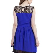 BLUE LACE YOKE FIT AND FLAIR DRESS-3996