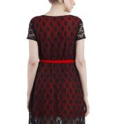 A LINE BLACK AND RED LACE DRESS-3917