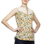 CREAM COLORED AND ORANGE PRINTED TOP-3812