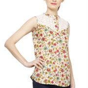 CREAM COLORED AND PINK PRINTED TOP-3804