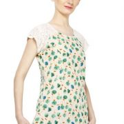 OFFWHITE AND GREEN FLORAL PRINT TOP-3780