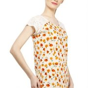 OFFWHITE AND ORANGE FLORAL PRINT TOP-3771