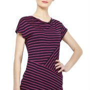 MAGENTA AND BLACK STRIPED TOP-3746
