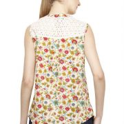 CREAM COLORED AND PINK PRINTED TOP-3805