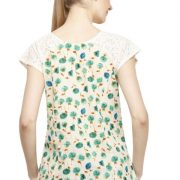 OFFWHITE AND GREEN FLORAL PRINT TOP-3781