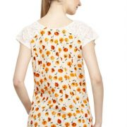 OFFWHITE AND ORANGE FLORAL PRINT TOP-3772