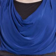 BLUE AND BLACK COWL NECK DRESS-3959