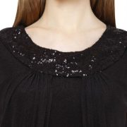 BLACK MAXI DRESS WITH SEQUIN DETAIL-3911