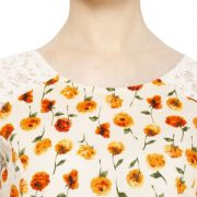 OFFWHITE AND ORANGE FLORAL PRINT TOP-3773