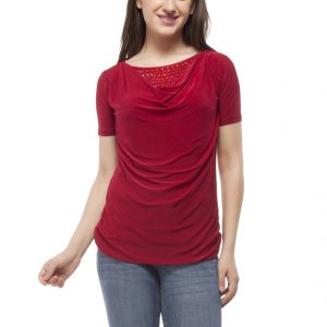 Peptrends Maroon Beaded Top-0